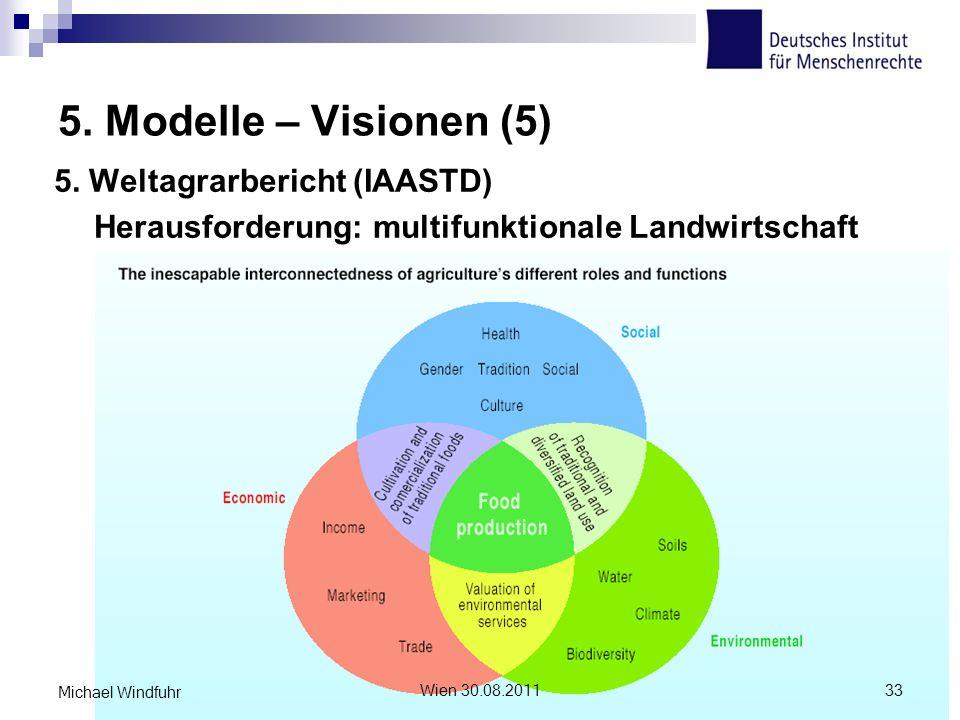 5. Modelle – Visionen (5) 5. Weltagrarbericht (IAASTD) Herausforderung: multifunktionale Landwirtschaft Wien 30.08.201133 Michael Windfuhr