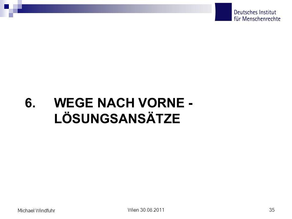 6. WEGE NACH VORNE - LÖSUNGSANSÄTZE Wien 30.08.201135 Michael Windfuhr
