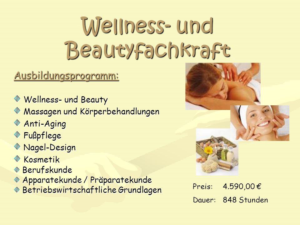 Wellness- und Beautyfachkraft Ausbildungsprogramm: Wellness- und Beauty Wellness- und Beauty Massagen und Körperbehandlungen Massagen und Körperbehand