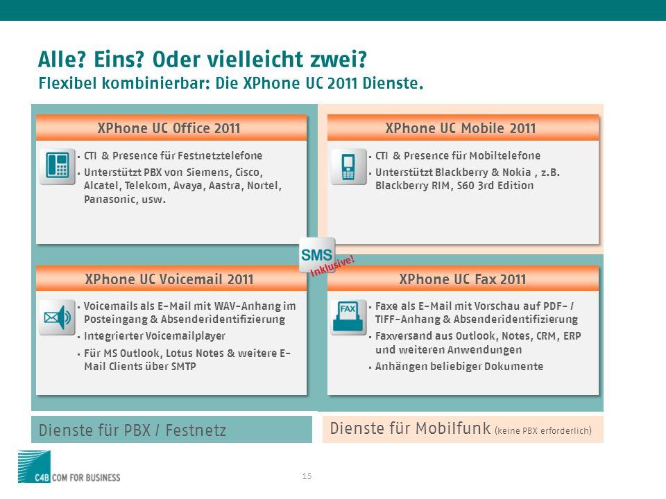 15 Alle.Eins. Oder vielleicht zwei. Flexibel kombinierbar: Die XPhone UC 2011 Dienste.