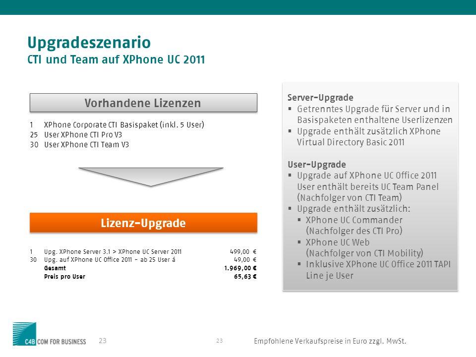23 Upgradeszenario CTI und Team auf XPhone UC 2011 23 1XPhone Corporate CTI Basispaket (inkl.