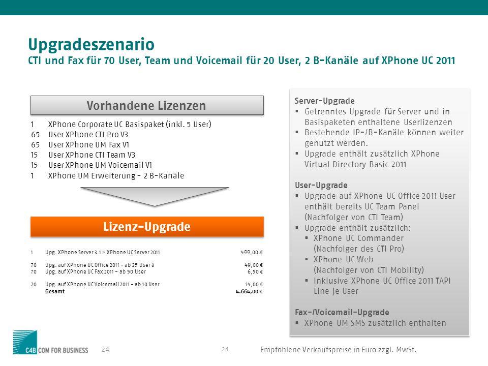 24 Upgradeszenario CTI und Fax für 70 User, Team und Voicemail für 20 User, 2 B-Kanäle auf XPhone UC 2011 24 Vorhandene Lizenzen Lizenz-Upgrade Server-Upgrade Getrenntes Upgrade für Server und in Basispaketen enthaltene Userlizenzen Bestehende IP-/B-Kanäle können weiter genutzt werden.