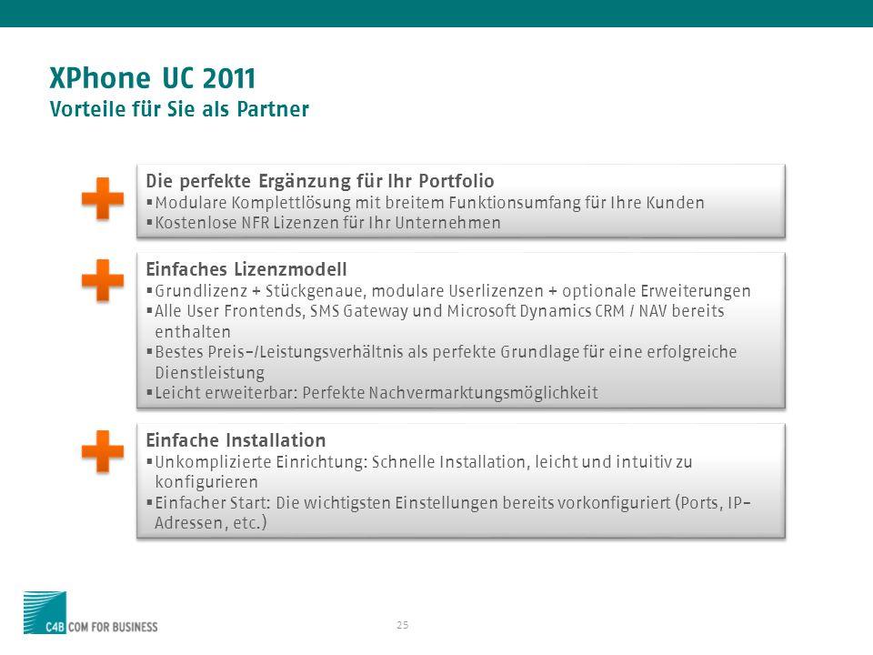 25 XPhone UC 2011 Vorteile für Sie als Partner Einfache Installation Unkomplizierte Einrichtung: Schnelle Installation, leicht und intuitiv zu konfigurieren Einfacher Start: Die wichtigsten Einstellungen bereits vorkonfiguriert (Ports, IP- Adressen, etc.) Einfache Installation Unkomplizierte Einrichtung: Schnelle Installation, leicht und intuitiv zu konfigurieren Einfacher Start: Die wichtigsten Einstellungen bereits vorkonfiguriert (Ports, IP- Adressen, etc.) Einfaches Lizenzmodell Grundlizenz + Stückgenaue, modulare Userlizenzen + optionale Erweiterungen Alle User Frontends, SMS Gateway und Microsoft Dynamics CRM / NAV bereits enthalten Bestes Preis-/Leistungsverhältnis als perfekte Grundlage für eine erfolgreiche Dienstleistung Leicht erweiterbar: Perfekte Nachvermarktungsmöglichkeit Einfaches Lizenzmodell Grundlizenz + Stückgenaue, modulare Userlizenzen + optionale Erweiterungen Alle User Frontends, SMS Gateway und Microsoft Dynamics CRM / NAV bereits enthalten Bestes Preis-/Leistungsverhältnis als perfekte Grundlage für eine erfolgreiche Dienstleistung Leicht erweiterbar: Perfekte Nachvermarktungsmöglichkeit Die perfekte Ergänzung für Ihr Portfolio Modulare Komplettlösung mit breitem Funktionsumfang für Ihre Kunden Kostenlose NFR Lizenzen für Ihr Unternehmen Die perfekte Ergänzung für Ihr Portfolio Modulare Komplettlösung mit breitem Funktionsumfang für Ihre Kunden Kostenlose NFR Lizenzen für Ihr Unternehmen
