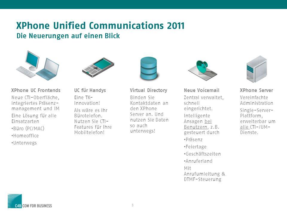 3 XPhone Unified Communications 2011 Die Neuerungen auf einen Blick XPhone UC Frontends Neue CTI-Oberfläche, integriertes Präsenz- management und IM Eine Lösung für alle Einsatzarten Büro (PC/MAC) Homeoffice Unterwegs XPhone Server Vereinfachte Administration Single-Server- Plattform, erweiterbar um alle CTI-/UM- Dienste.