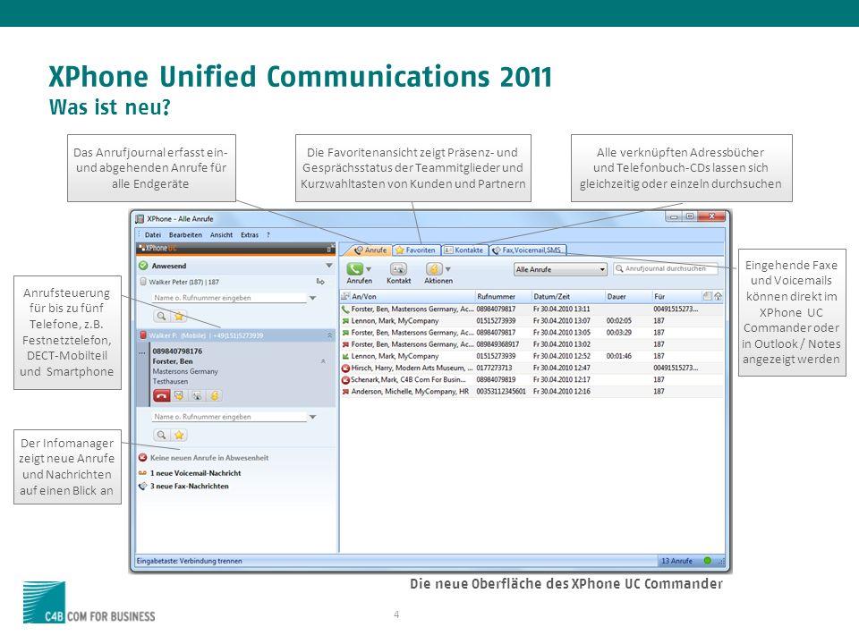 4 XPhone Unified Communications 2011 Was ist neu.
