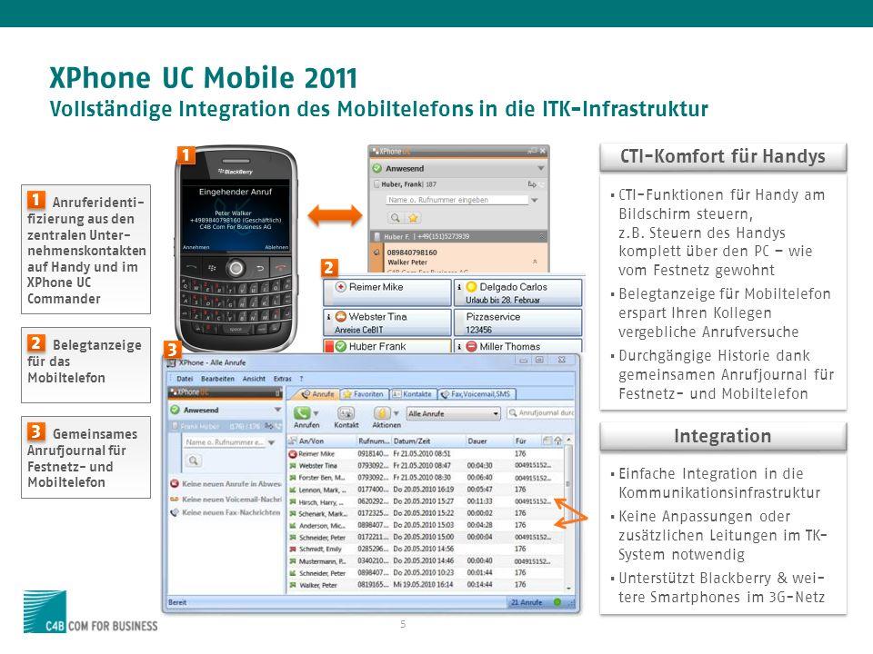5 XPhone UC Mobile 2011 Vollständige Integration des Mobiltelefons in die ITK-Infrastruktur CTI-Funktionen für Handy am Bildschirm steuern, z.B.