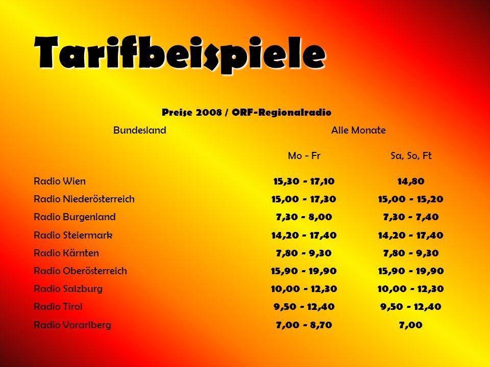 Tarifbeispiele Preise 2008 / ORF-Regionalradio BundeslandAlle Monate Mo - FrSa, So, Ft Radio Wien 15,30 - 17,1014,80 Radio Niederösterreich 15,00 - 17