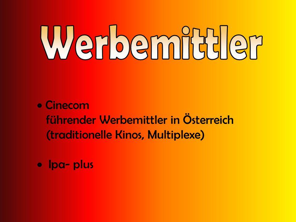 Cinecom führender Werbemittler in Österreich (traditionelle Kinos, Multiplexe) Ipa- plus
