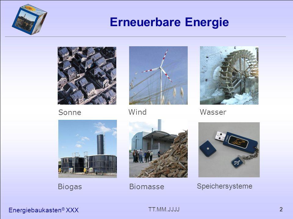 2TT.MM.JJJJ Erneuerbare Energie Sonne WindWasser BiogasBiomasse Speichersysteme