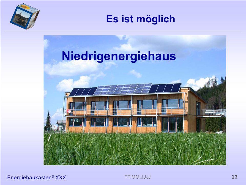 Energiebaukasten ® XXX 23TT.MM.JJJJ Es ist möglich Niedrigenergiehaus