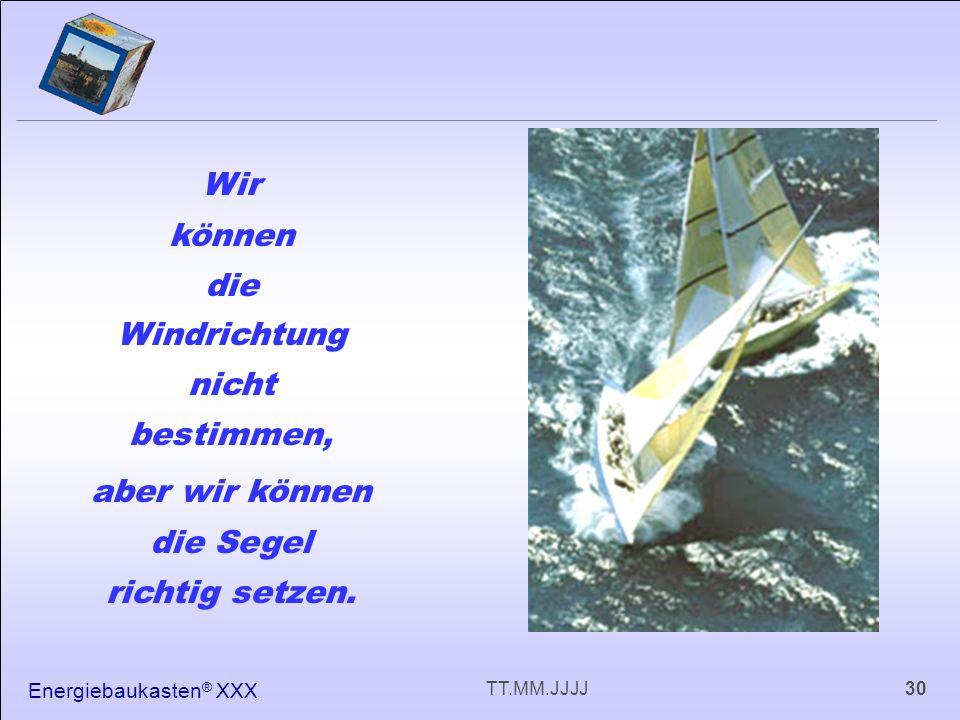 Energiebaukasten ® XXX 30TT.MM.JJJJ Wir können die Windrichtung nicht bestimmen, aber wir können die Segel richtig setzen.