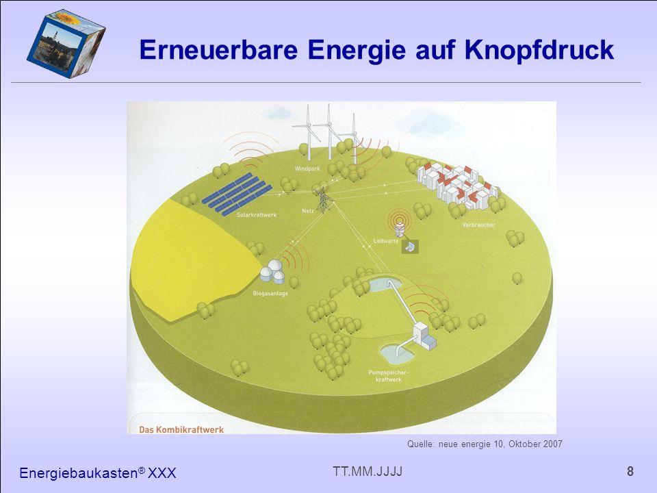 Energiebaukasten ® XXX 8TT.MM.JJJJ Erneuerbare Energie auf Knopfdruck Quelle: neue energie 10, Oktober 2007