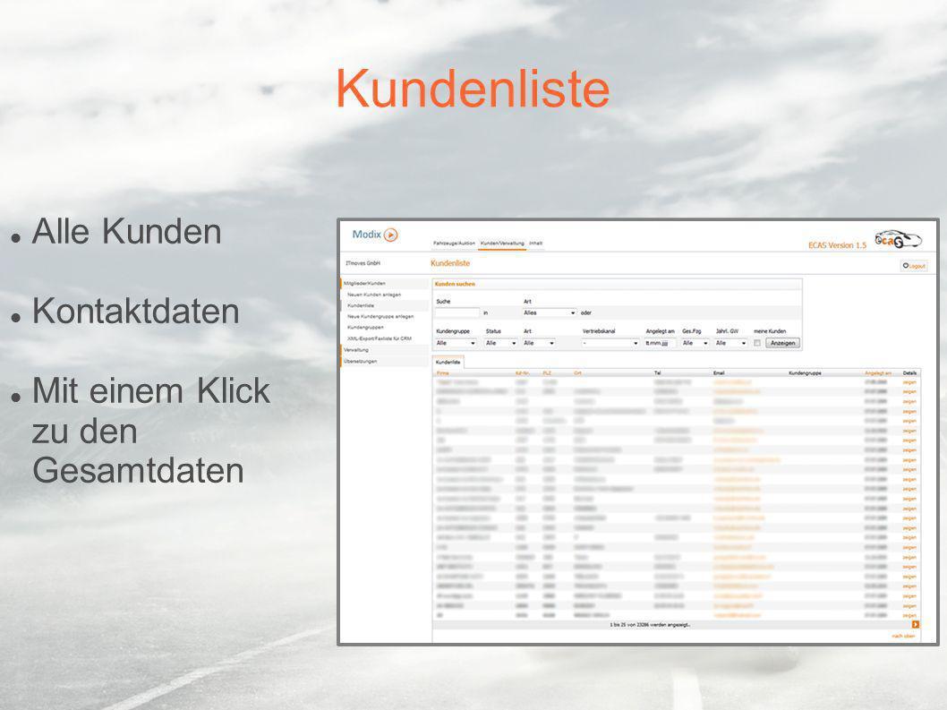 Kundenliste Alle Kunden Kontaktdaten Mit einem Klick zu den Gesamtdaten