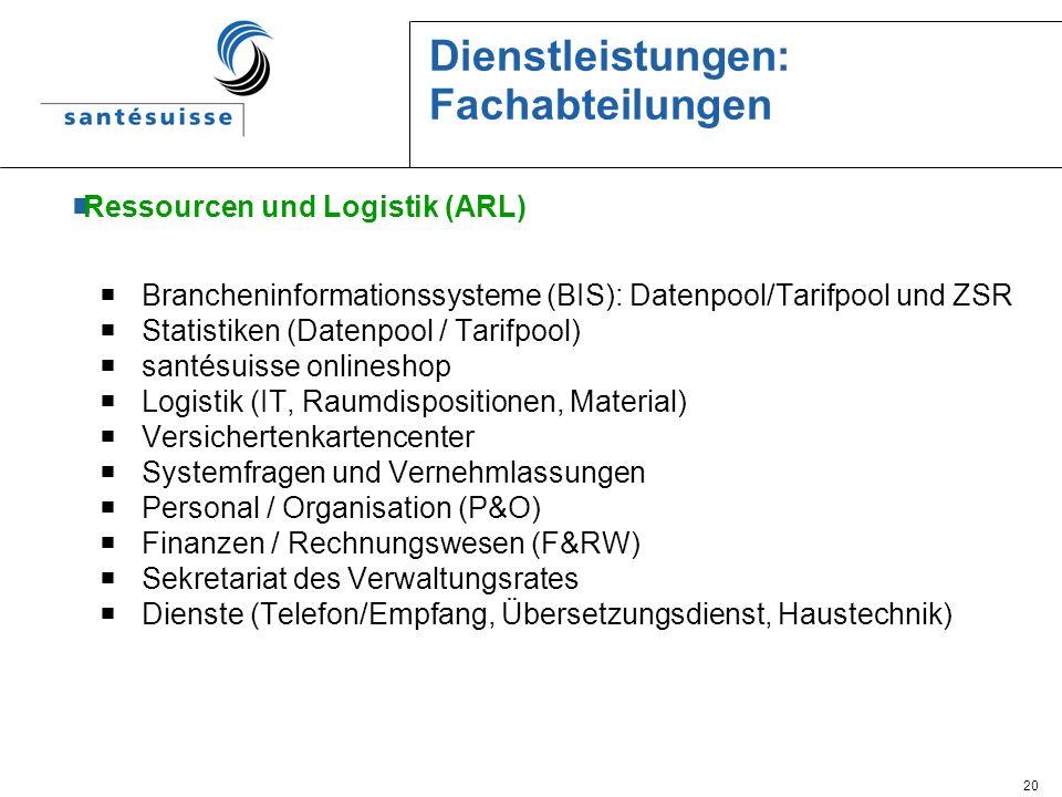 20 Dienstleistungen: Fachabteilungen Ressourcen und Logistik (ARL) Brancheninformationssysteme (BIS): Datenpool/Tarifpool und ZSR Statistiken (Datenpo