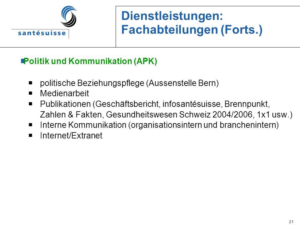 21 Dienstleistungen: Fachabteilungen (Forts.) Politik und Kommunikation (APK) politische Beziehungspflege (Aussenstelle Bern) Medienarbeit Publikation