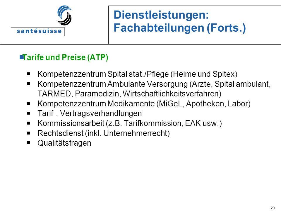 23 Dienstleistungen: Fachabteilungen (Forts.) Tarife und Preise (ATP) Kompetenzzentrum Spital stat./Pflege (Heime und Spitex) Kompetenzzentrum Ambulan