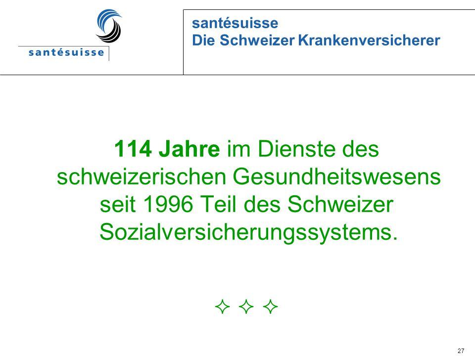 27 santésuisse Die Schweizer Krankenversicherer 114 Jahre im Dienste des schweizerischen Gesundheitswesens seit 1996 Teil des Schweizer Sozialversiche