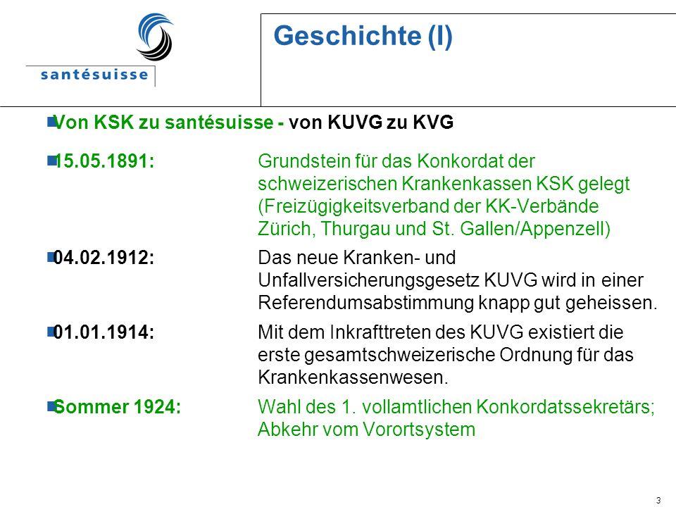 3 Geschichte (I) Von KSK zu santésuisse - von KUVG zu KVG 15.05.1891: Grundstein für das Konkordat der schweizerischen Krankenkassen KSK gelegt (Freiz