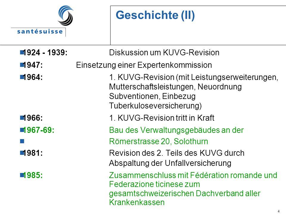 4 Geschichte (II) 1924 - 1939: Diskussion um KUVG-Revision 1947:Einsetzung einer Expertenkommission 1964: 1. KUVG-Revision (mit Leistungserweiterungen