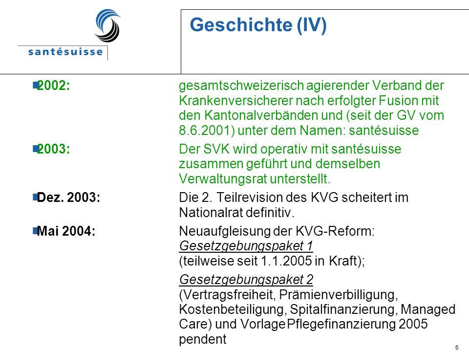 6 Geschichte (IV) 2002: gesamtschweizerisch agierender Verband der Krankenversicherer nach erfolgter Fusion mit den Kantonalverbänden und (seit der GV