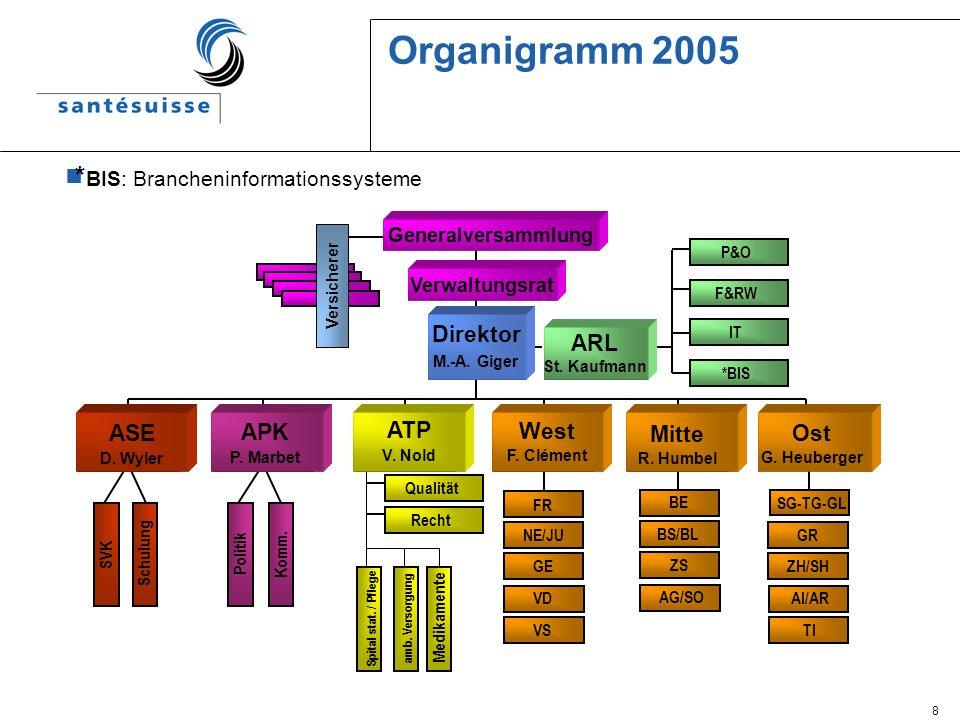 8 Organigramm 2005 * BIS: Brancheninformationssysteme ARL St. Kaufmann *BIS IT F&RW Spital stat. / Pflege amb. Versorgung Politik Komm. SVK Schulung G