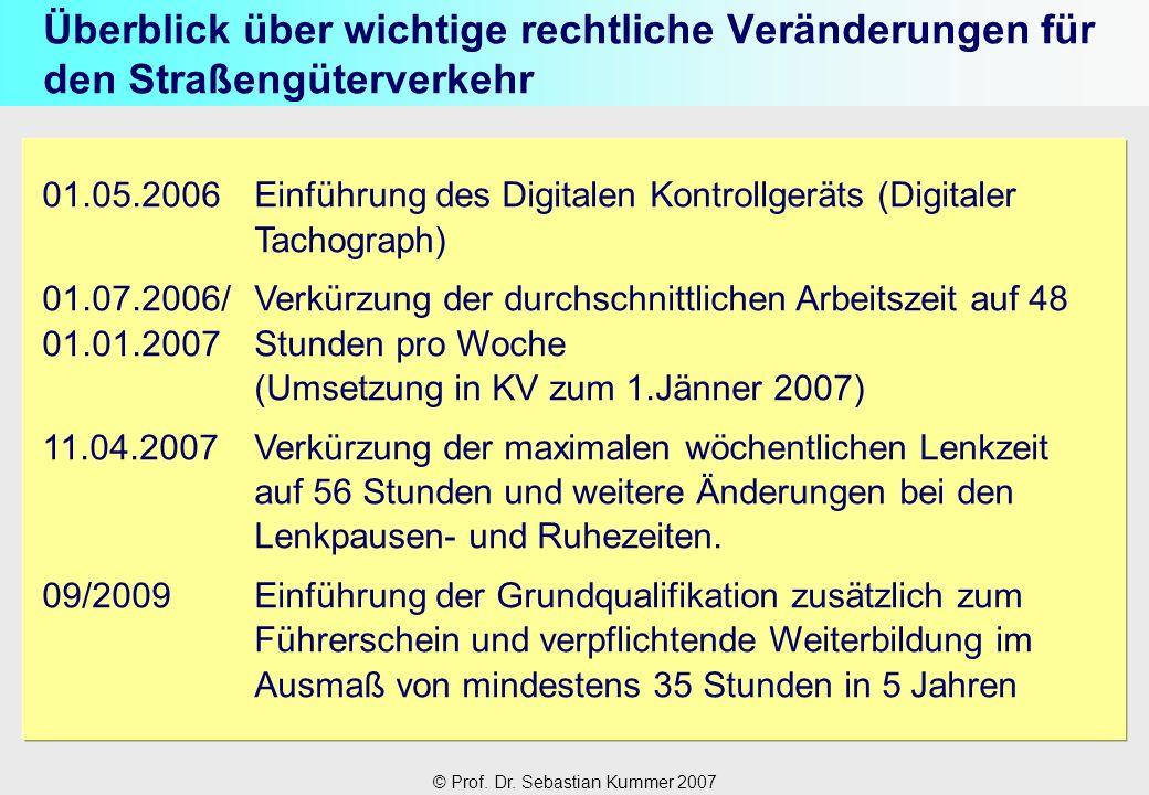 © Prof. Dr. Sebastian Kummer 2007 Überblick über wichtige rechtliche Veränderungen für den Straßengüterverkehr 01.05.2006Einführung des Digitalen Kont