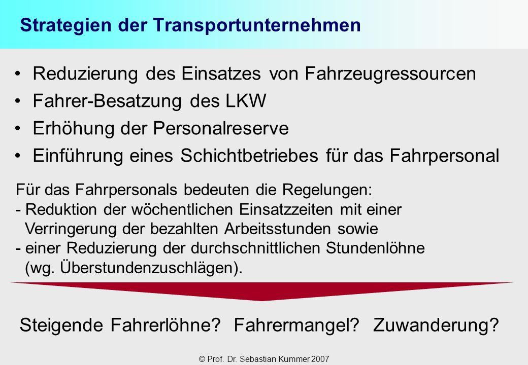 © Prof. Dr. Sebastian Kummer 2007 Strategien der Transportunternehmen Reduzierung des Einsatzes von Fahrzeugressourcen Fahrer-Besatzung des LKW Erhöhu