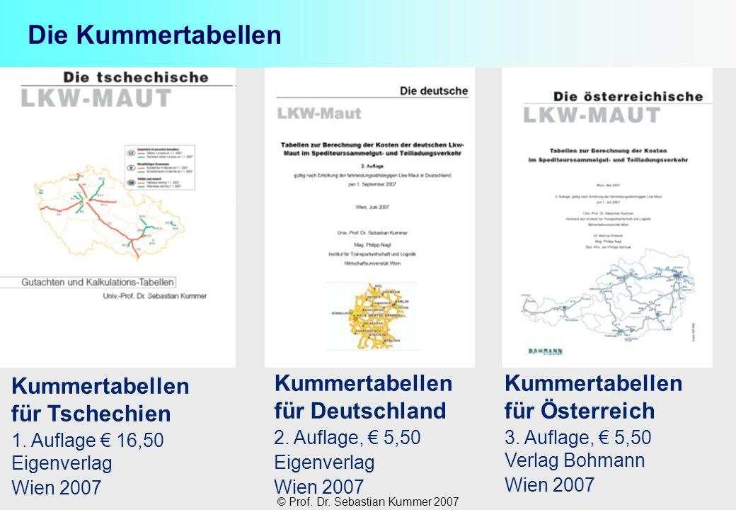 © Prof. Dr. Sebastian Kummer 2007 Die Kummertabellen Kummertabellen für Tschechien 1. Auflage 16,50 Eigenverlag Wien 2007 Kummertabellen für Österreic