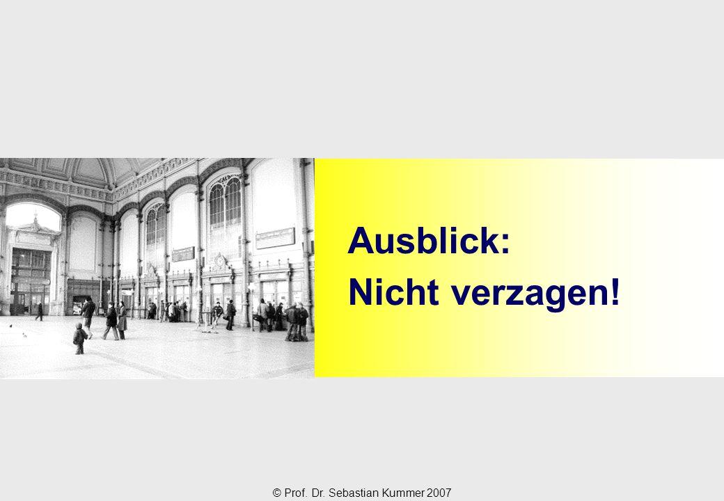 © Prof. Dr. Sebastian Kummer 2007 Ausblick: Nicht verzagen!