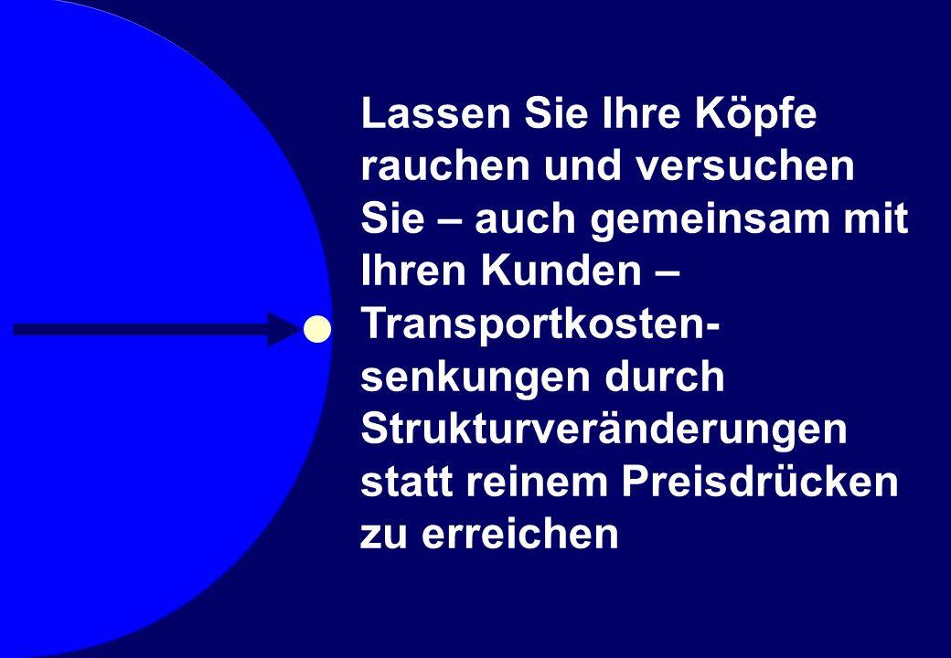 © Prof. Dr. Sebastian Kummer 2007 Lassen Sie Ihre Köpfe rauchen und versuchen Sie – auch gemeinsam mit Ihren Kunden – Transportkosten- senkungen durch