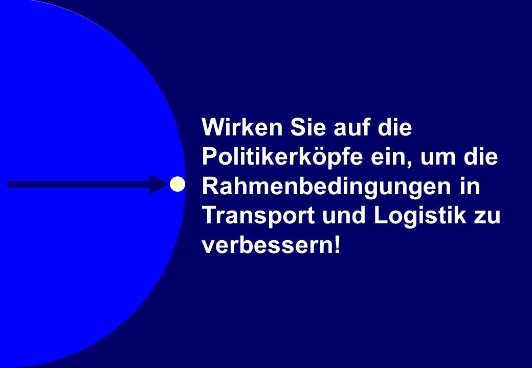 © Prof. Dr. Sebastian Kummer 2007 Wirken Sie auf die Politikerköpfe ein, um die Rahmenbedingungen in Transport und Logistik zu verbessern!