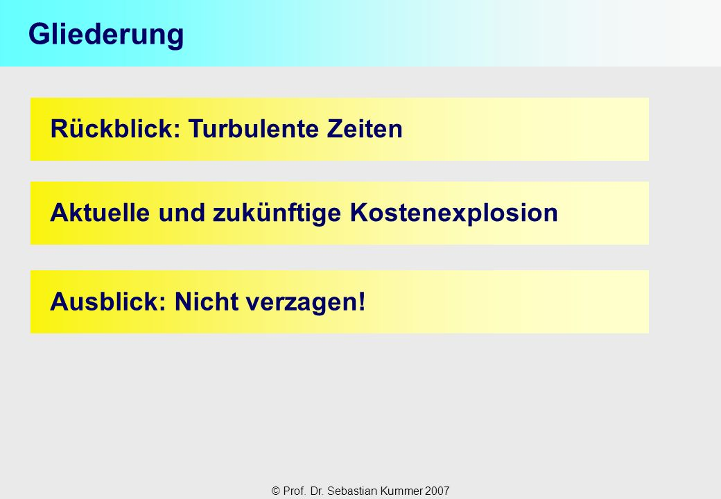 © Prof. Dr. Sebastian Kummer 2007 Rückblick: Turbulente Zeiten