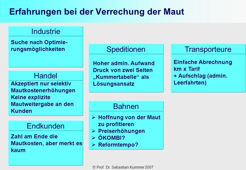 © Prof. Dr. Sebastian Kummer 2007 Erfahrungen bei der Verrechung der Maut Industrie Handel Endkunden SpeditionenTransporteure Einfache Abrechnung km x