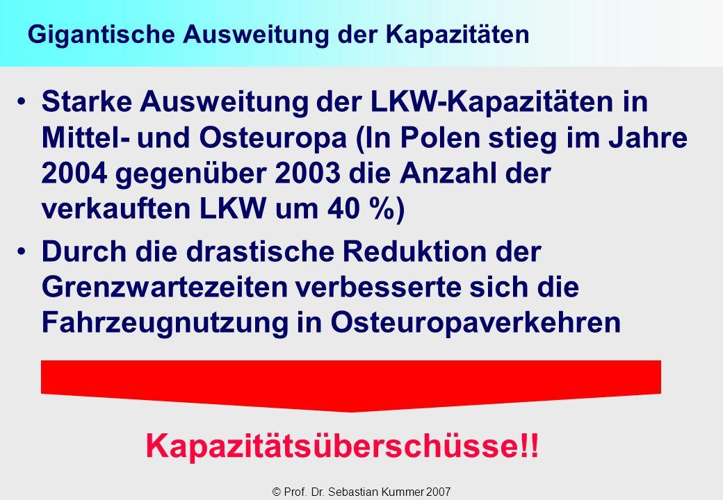 © Prof. Dr. Sebastian Kummer 2007 Gigantische Ausweitung der Kapazitäten Starke Ausweitung der LKW-Kapazitäten in Mittel- und Osteuropa (In Polen stie