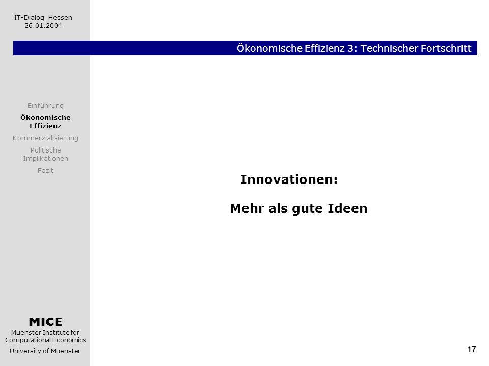 MICE Muenster Institute for Computational Economics University of Muenster IT-Dialog Hessen 26.01.2004 17 Ökonomische Effizienz 3: Technischer Fortsch