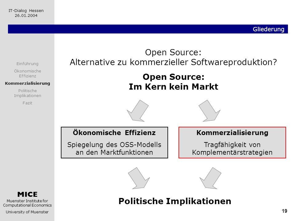 MICE Muenster Institute for Computational Economics University of Muenster IT-Dialog Hessen 26.01.2004 19 Gliederung Kommerzialisierung Tragfähigkeit