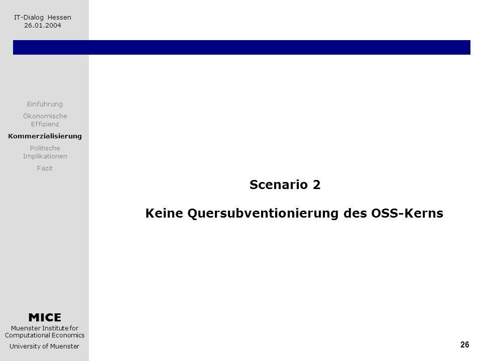 MICE Muenster Institute for Computational Economics University of Muenster IT-Dialog Hessen 26.01.2004 26 Scenario 2 Keine Quersubventionierung des OS