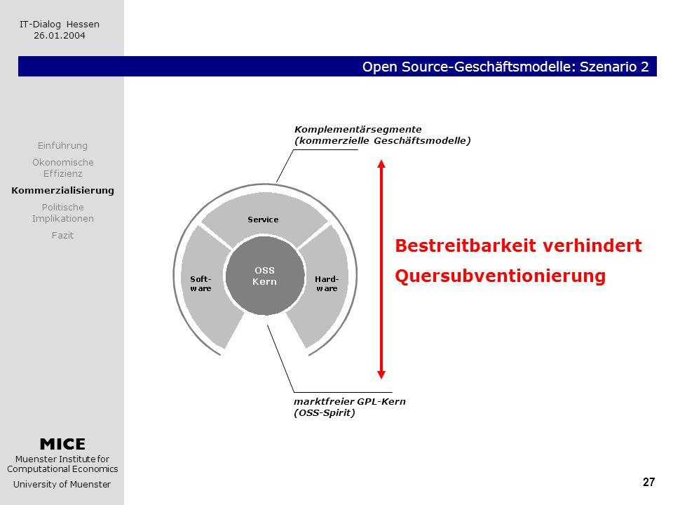 MICE Muenster Institute for Computational Economics University of Muenster IT-Dialog Hessen 26.01.2004 27 Open Source-Geschäftsmodelle: Szenario 2 Kom