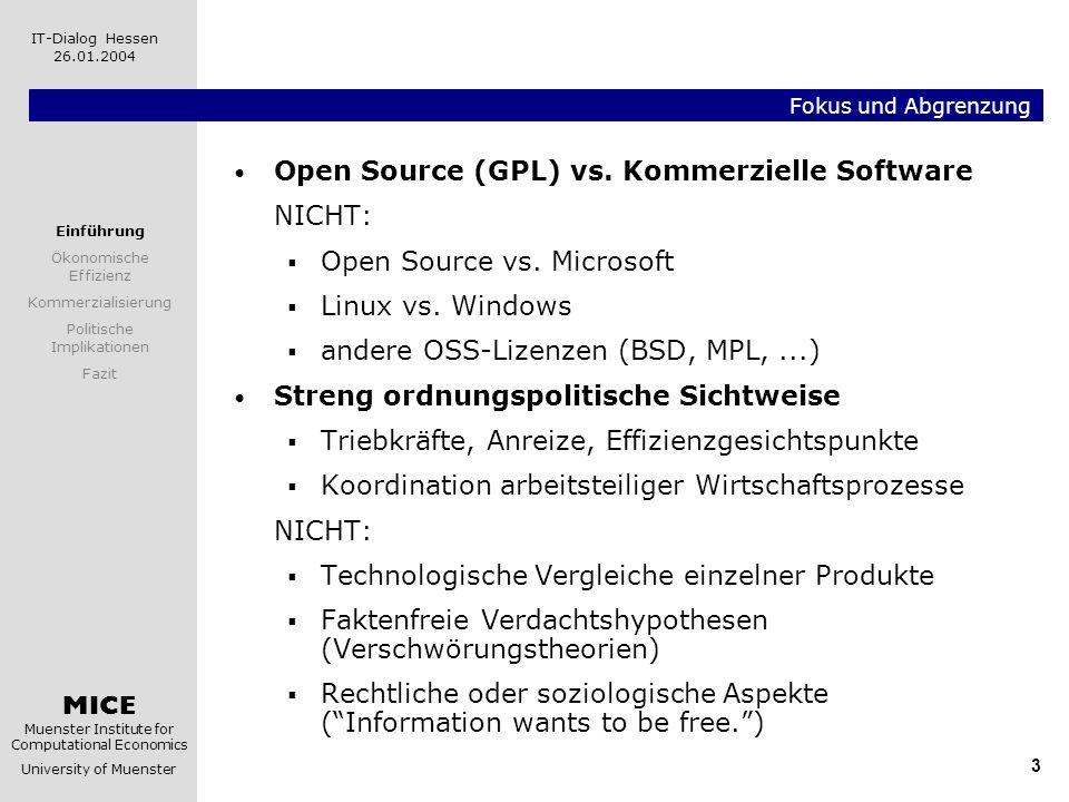 MICE Muenster Institute for Computational Economics University of Muenster IT-Dialog Hessen 26.01.2004 3 Fokus und Abgrenzung Open Source (GPL) vs. Ko