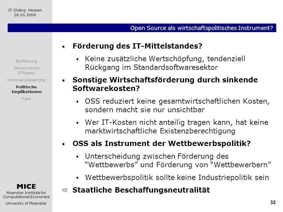 MICE Muenster Institute for Computational Economics University of Muenster IT-Dialog Hessen 26.01.2004 32 Open Source als wirtschaftspolitisches Instr