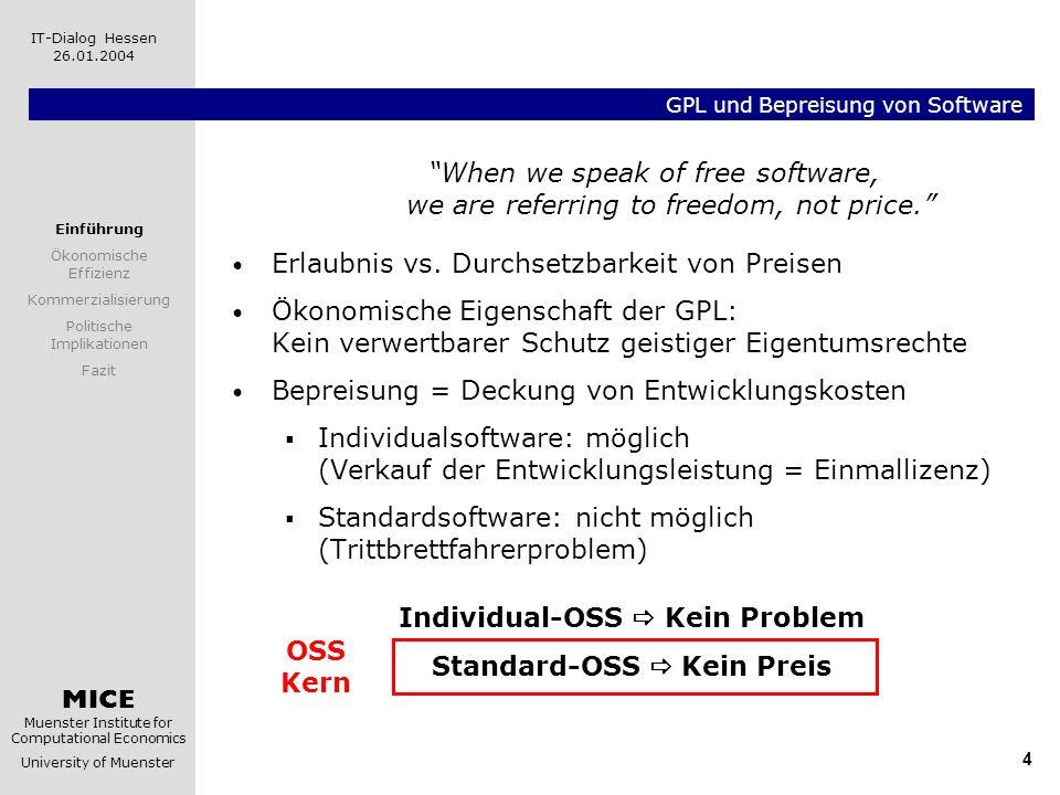 MICE Muenster Institute for Computational Economics University of Muenster IT-Dialog Hessen 26.01.2004 4 GPL und Bepreisung von Software When we speak