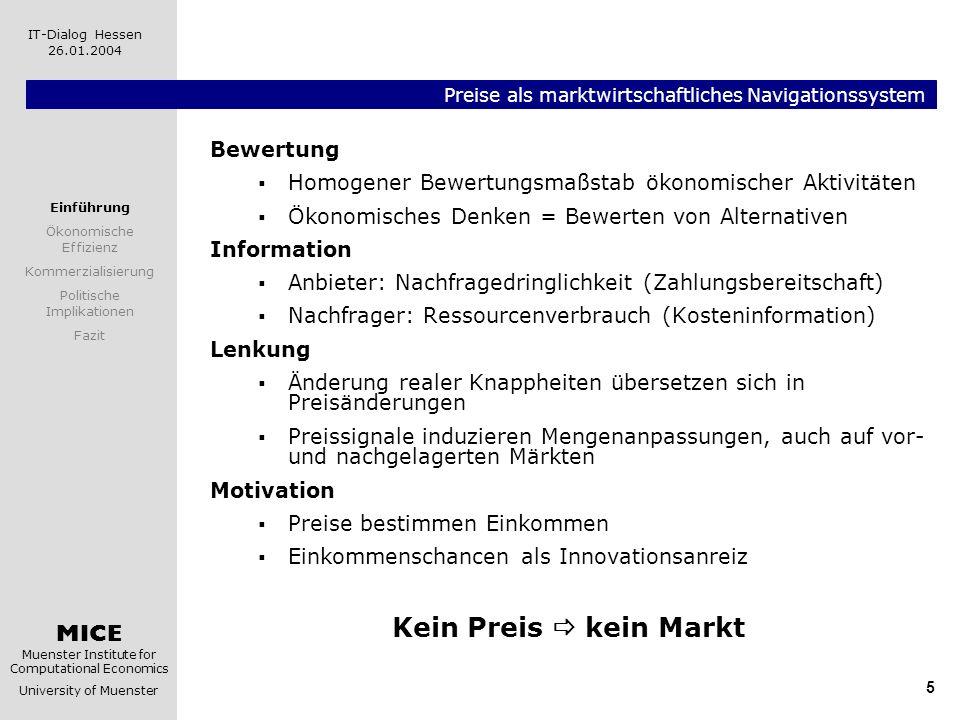 MICE Muenster Institute for Computational Economics University of Muenster IT-Dialog Hessen 26.01.2004 5 Preise als marktwirtschaftliches Navigationss