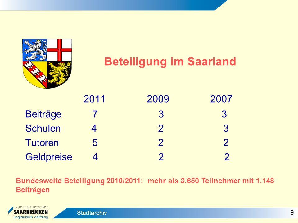 10 Stadtarchiv Der Wettbewerb im regionalen Vergleich Das Saarland = Zwischen schwacher Präsenz unter Roter Laterne 1982/83= 6 Beiträge aus dem Saarland = 0,51 % aller Beiträge – Rheinland-Pfalz: 8,47% 1992/93= 38 Beiträge 1,63 % (zum Vergleich: Rheinland-Pfalz 7,63 %) 2002/2003= 5 Beiträge 0,26 % (Rheinland-Pfalz =7,1%) 2010/2011= Saarland auf dem drittletzten Platz vor Bayern und Thüringen (Relation Beiträge/Schülerzahl) 2012/2013 = Traumziel - Saarland VORNE!!!
