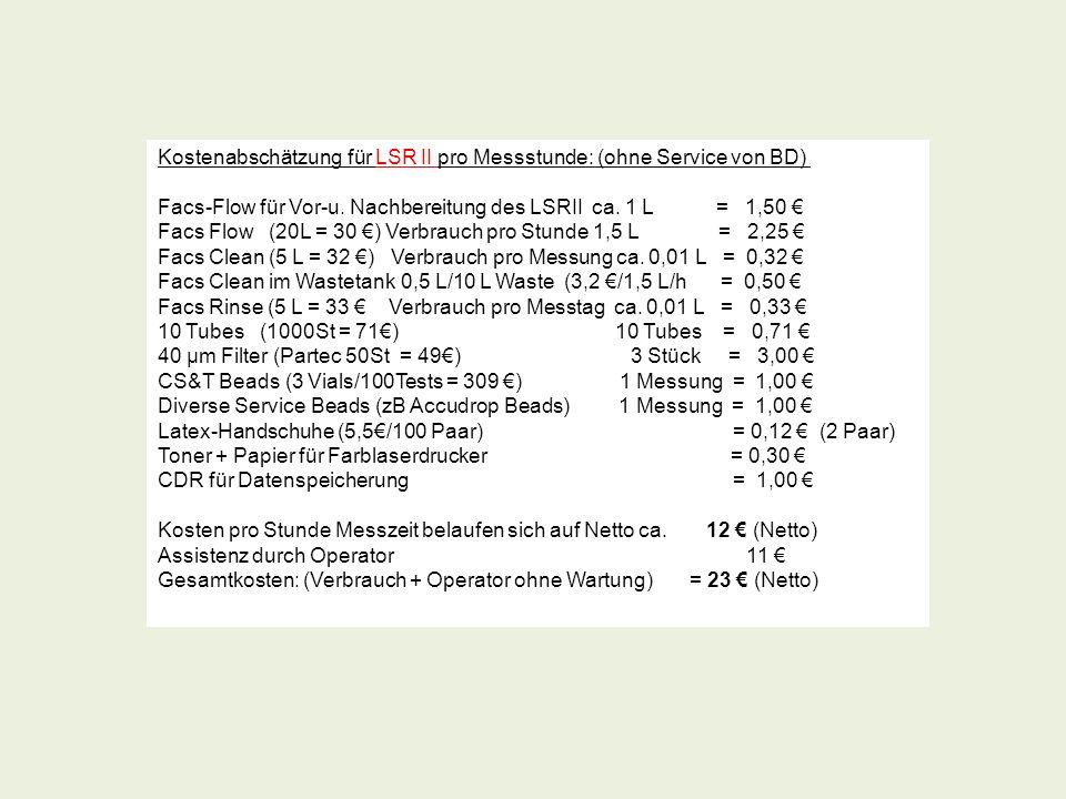 Kostenabschätzung für LSR II pro Messstunde: (ohne Service von BD) Facs-Flow für Vor-u. Nachbereitung des LSRII ca. 1 L = 1,50 Facs Flow (20L = 30 ) V
