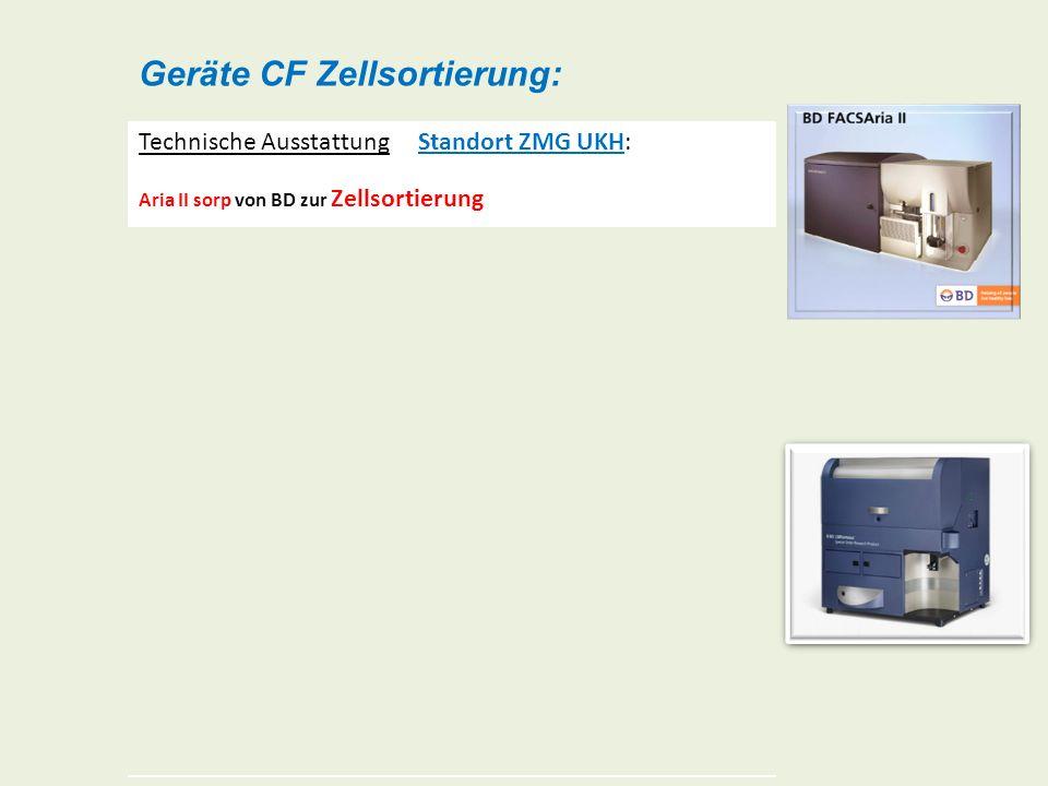 Geräte CF Zellsortierung: Technische Ausstattung Standort ZMG UKH: Aria II sorp von BD zur Zellsortierung (special order research product) 4 Anregungs