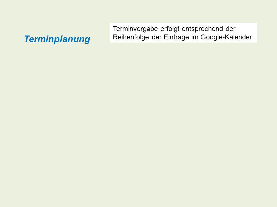 Die Anmeldung von Terminen zur Gerätebelegung / Inanspruchnahme der Dienstleistung erfolgt über einen durch das Internet zugänglichen Belegungsplan (Google-Kalender).
