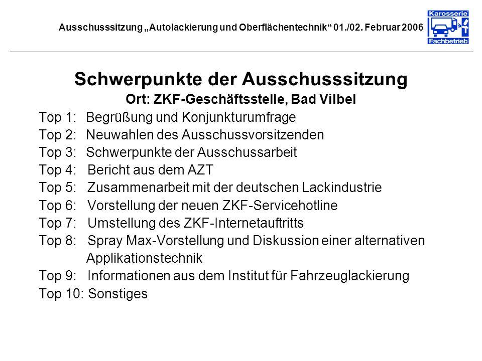 Ausschusssitzung Autolackierung und Oberflächentechnik 01./02. Februar 2006 Schwerpunkte der Ausschusssitzung Ort: ZKF-Geschäftsstelle, Bad Vilbel Top