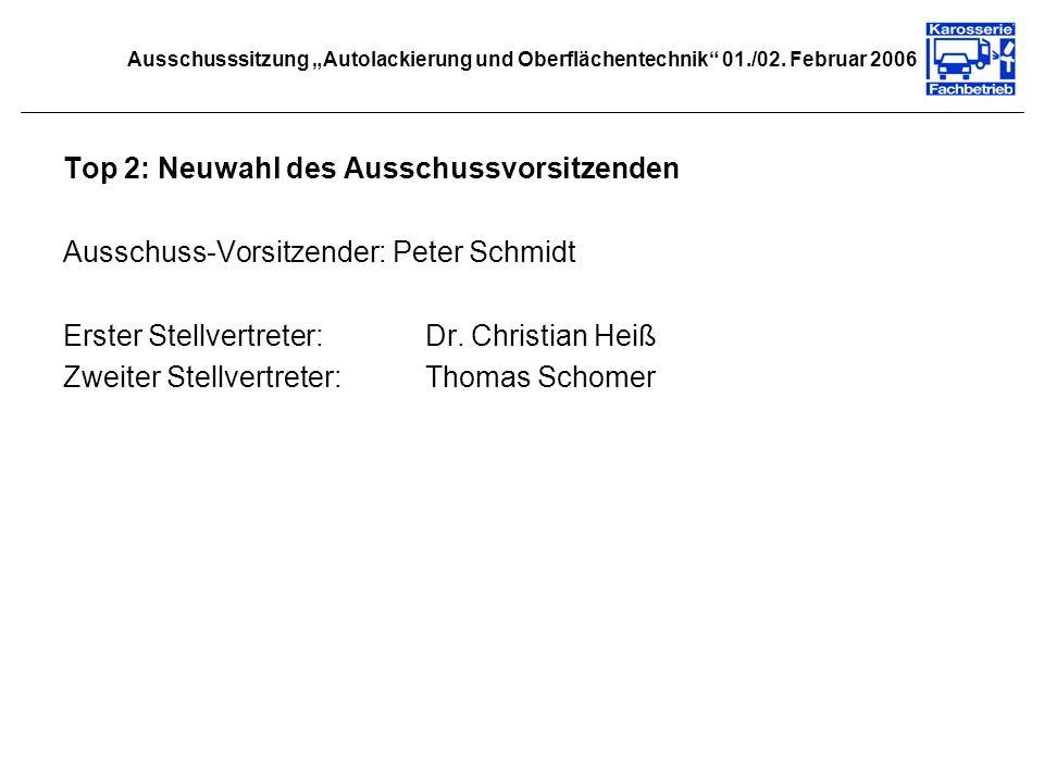 Ausschusssitzung Autolackierung und Oberflächentechnik 01./02. Februar 2006 Top 2: Neuwahl des Ausschussvorsitzenden Ausschuss-Vorsitzender: Peter Sch