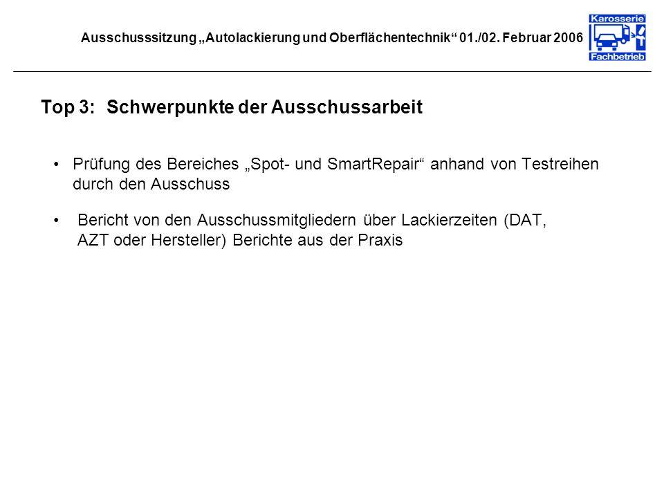 Ausschusssitzung Autolackierung und Oberflächentechnik 01./02. Februar 2006 Top 3:Schwerpunkte der Ausschussarbeit Prüfung des Bereiches Spot- und Sma