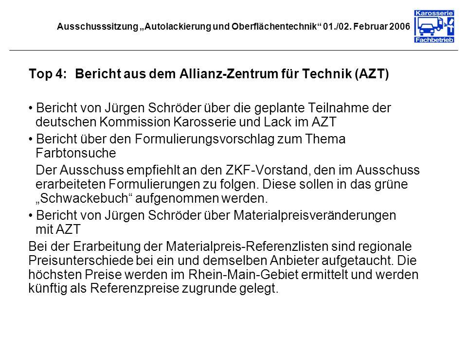 Ausschusssitzung Autolackierung und Oberflächentechnik 01./02. Februar 2006 Top 4:Bericht aus dem Allianz-Zentrum für Technik (AZT) Bericht von Jürgen